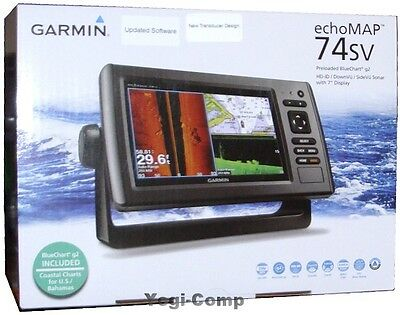 Garmin Echomap 74Sv Hd Id Sidevu   Transducer   Bluechart Coastal G2 Maps