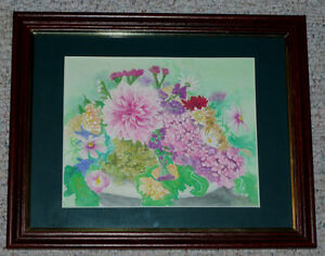 "watercolor picture of Flowers .. ""Milicent"" . as shown . 15 x 12"