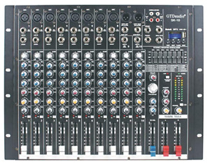 1,000 W RMS 10 Channel Powered Mixer + (2)  500 W RMS Speakers