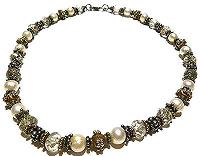 Estate Womens Heavy Sterling Silver Two Tone Bead Crystal Real Pearl Necklace