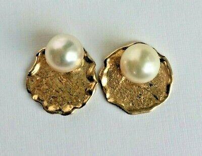 Vintage 14K Gold Cultured Pearl Earrings