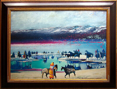 "Earl Biss ""Riders at the Heardwaters of Yellowstone""#8 with Custom frame 30x40 for sale  Aurora"