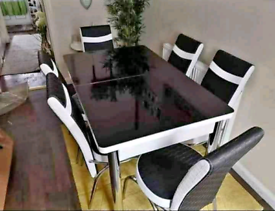 Glass Top Dining Table Black With Chairs ⚜️📞 Now 🚛 Available
