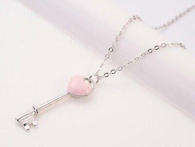 Enamel Pink Key Heart Love Pendant Choker Necklace Sterling Silver Gift Box A2
