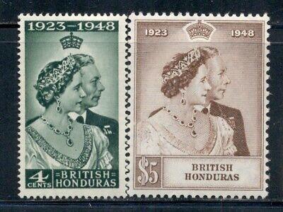 BRITISH HONDURAS 129-30 SG164-65 MH 1948 KGVI Silver Wedding set of 2 Cat$25