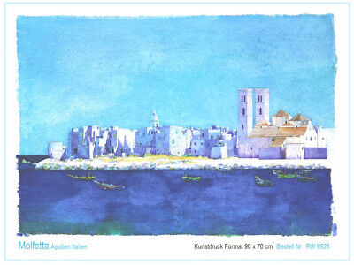 Kunstdruck Italien Westphal Molfetta / Apulien Bild 90 x 70 cm Aquarell