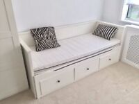 Ikea Hemnes white day bed, pulls out to double, 2 single mattresses included
