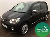 £133.85 PER MONTH BLACK 2013 VOLKSWAGEN UP 1.0 TSI UP 5 DOOR PETROL MANUAL