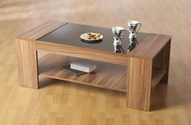 Coffee Table 6 months old, Wood with black glass effect top