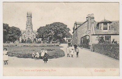 Dunbartonshire postcard - The Green & Parish Church, Row, Gareloch - P/U 1905