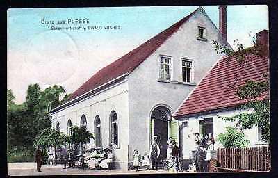 74474 AK Plesse Plesno Schankwirtschaft Ewald Wishet 1907 Verlag Bellbach Guben