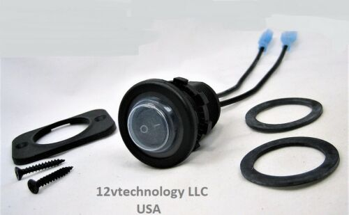 Double Sealed Waterproof Rocker 12V Toggle Switch SPST Black Socket Round IP66
