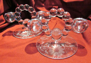 Pair of Vintage CORNFLOWER Etched CRYSTAL Candlestick Holders Kitchener / Waterloo Kitchener Area image 2