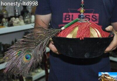 """18/"""" China Qing dynasty silk gem Royal Officer hat Cap Headgear Chapeau Headdress"""