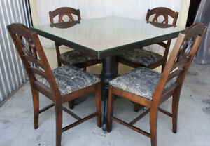 Elegant table + 4 chairs, glass top, casters, refinished (delive