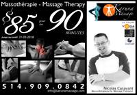 Massothérapie professionelle Rive-Sud: PROMO 90 min. $85