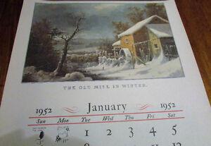 1952 Vintage Calendar Featuring Currier & Ives Reprints Kitchener / Waterloo Kitchener Area image 1