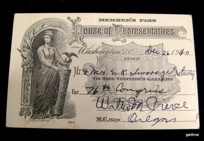 WALTER M PIERCE 1940 SIGNED US HOUSE PASS RACIST OREGON PRO-PROHIBITION GOVERNOR