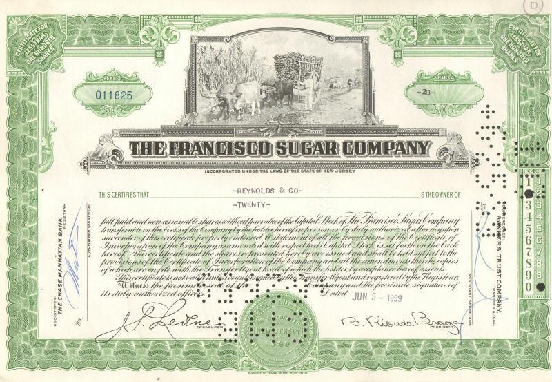 The Francisco Sugar Company stock certificate