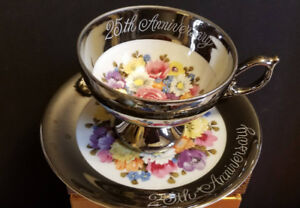 Vintage Porcelain 25th Anniversary Silver Teacup,Weddings