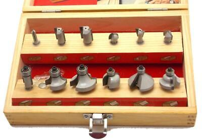 Hickory Woodworking 14 Router Bit Set 12 Piece Wooden Storage Box Barely Used