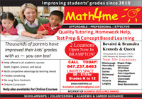 Math Science Eng French Tutor 8$-15$/hr, 2 locations Brampton