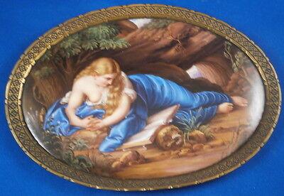 Amazing Meissen Porcelain Scenic Plaque Porzellan Bild Penitent Magdalene Scene
