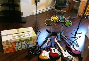 Rockband and Band Hero xbox 360 NEW! 6 guitars and more