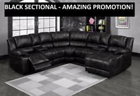 BLACK SECTIONAL w/RECLINER + CHAISE LOUNGER $1299.99 @ Yvonne's