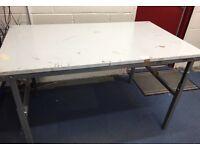 Treston heavy duty, adjustable height, steel topped workbench / table