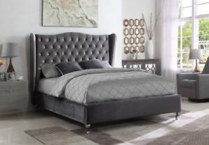 GREY VELVET FABRIC WING BED WITH NAIL HEAD STUDS AND RHINESTONE
