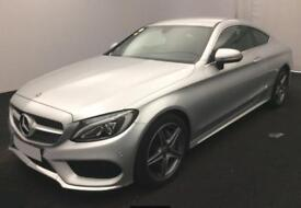 2017 SILVER MERCEDES C220 2.1 AMG LINE DIESEL AUTO COUPE CAR FINANCE FR £100 PW