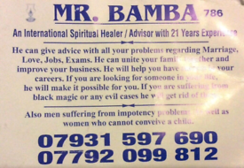 MR BAMBA IS an international spiritual healer and advisor