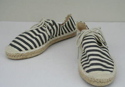 (J Crew Navy Blue Beige Striped Nautical Canvas Lace Up Flats Sneakers Shoes 8)