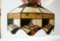 Multi-Colored Leaded Glass Tiffany Style Ceiling Light