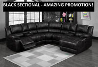BLACK SECTIONAL w/RECLINER + CHAISE LOUNGER $1699.99 @ Yvonne's