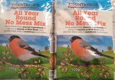 Wild Bird Seed 2 x All Year Round No Mess Mix Suits all Seed Feeders Bird watch