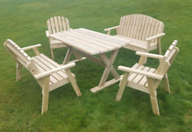 Beautiful wooden table chairs and beach set Garden patio furniture