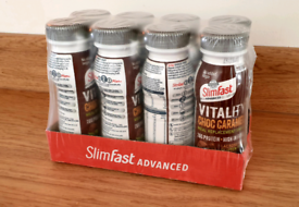8 x SlimFast Vitality Choc Caramel Shake 275 ml (BBE: May '21)
