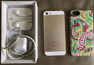 Factory Unlocked iPhone 5s-16GB Gold + protective cover $250 OBO