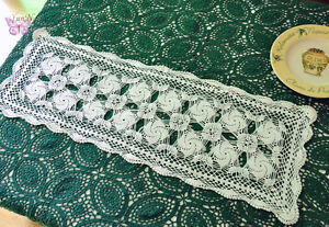 Elegant White Hand Crochet Cotton Doily Table Runner 9x29