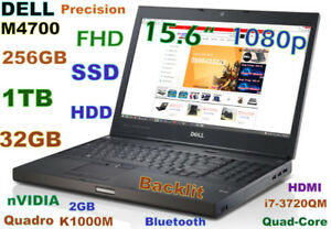 Prof. 3D-Design 15.6 FHD DELL M4700 i7-QUAD 256GB SSD 1TB 32GB