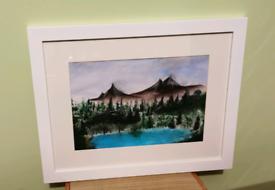 Framed acrylic painting.