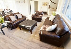 Chocolate Faux Leather 3 Pc Couch Set- ALL FOR ONLY $300!