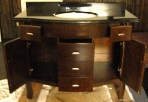 Solid Hardwood Vanity - includes ceramic sink/solid granite top