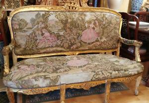 French Gilt Frame Settee Salon Boudoir Sofa Couch