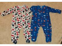 Boys fleece all in one sleep suits size 12-18 and 18-24months