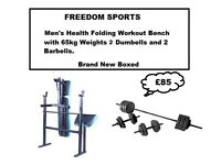 MENS HEALTH WEIGHTS BENCH WITH 65KGVINYL WEIGHTS SET 2 DUMBELLS AND BARBELL BNB