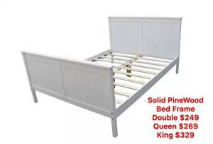 Brand New Solid PineWood Bed Frame Double/Queen/King size White Clayton South Kingston Area Preview