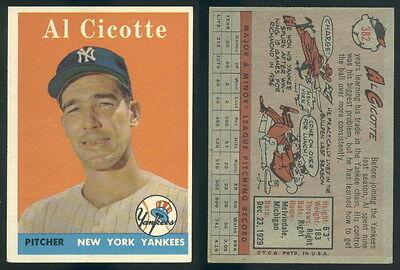 (42287) 1958 Topps 382 Al Cicotte Yankees-EM